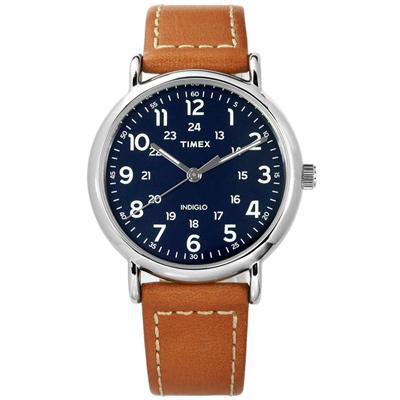 TIMEX 天美時 美國指標型男復古簡約夜光真皮手錶-深藍x駝/40mm