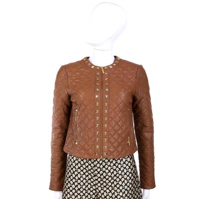 MICHAEL KORS 棕色菱格紋鉚釘裝飾皮衣外套