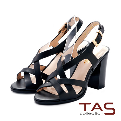 TAS 交叉繞踝鏤空繫帶粗跟涼鞋~艷麗黑