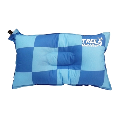 Tree Walker 花漾舒適自動充氣枕 格紋藍