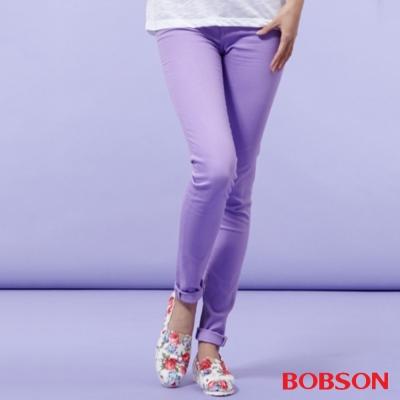 BOBSON 女款高腰膠原蛋白.彩色小直筒褲-紫色