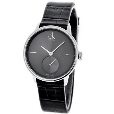 CK Accent 摩登中性獨立小秒針時尚腕錶-灰黑/31mm