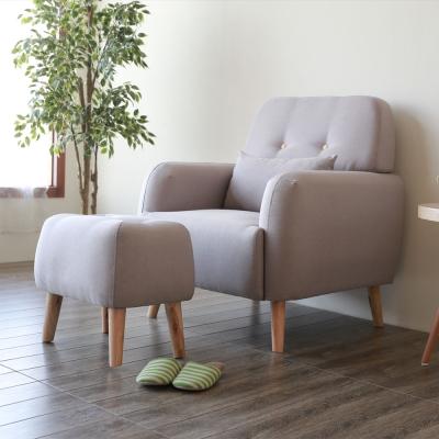 YKSHOUSE 雅米單人座布沙發+腳椅全組-獨立筒版