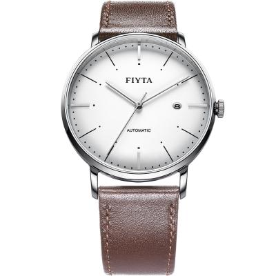 FIYTA飛亞達 卓雅系列復古造型機械錶(WGA800001.WWR)-白色/42mm