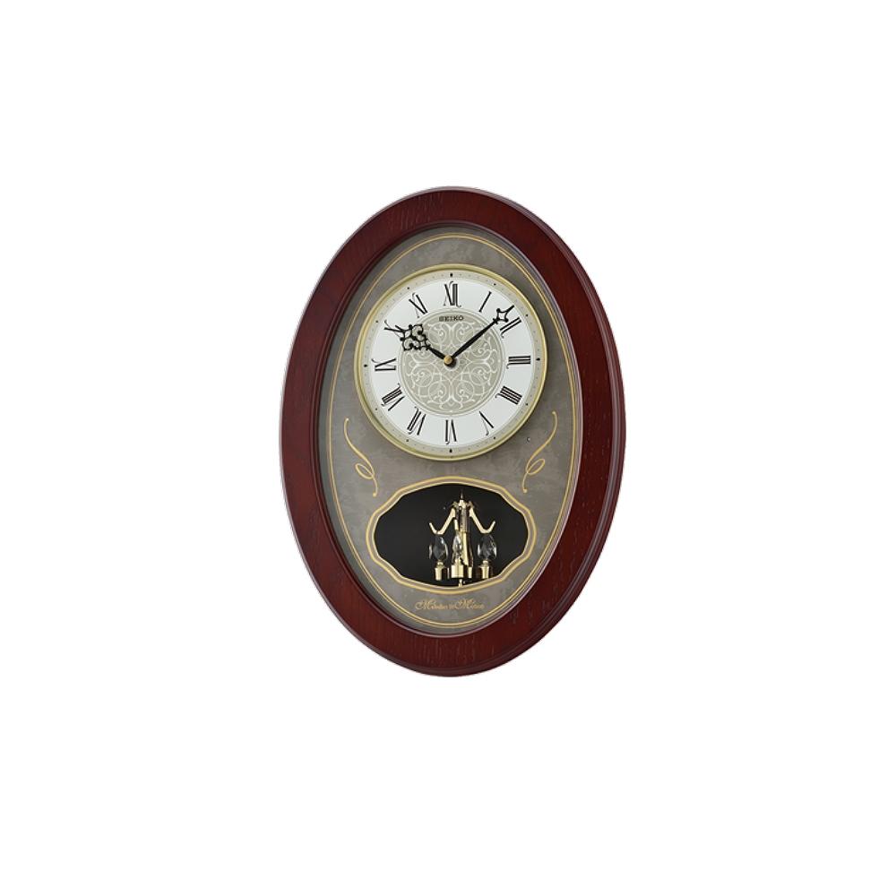 SEIKO 日本精工 勁歌飛揚 音樂掛鐘(QXM373B)-咖啡/43X31cm