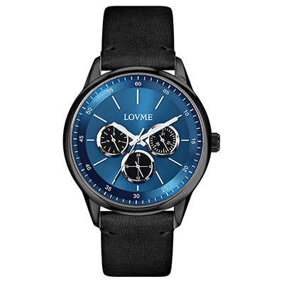 LOVME 雅痞時尚中性手錶-IP黑x藍/41mm