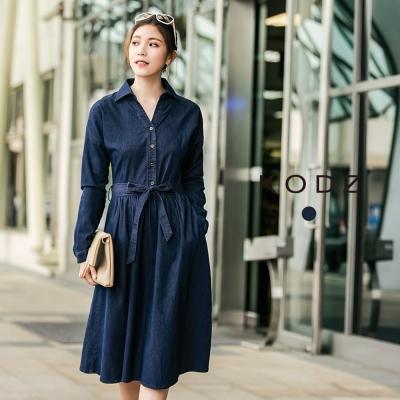 東京著衣-KODZ 時尚百搭丹寧設計襯衫領洋裝-S.M.L(共一色)