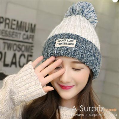 A-Surpriz 韓系混色徽章毛線帽(米白)