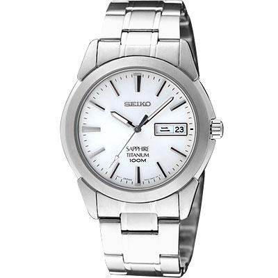 SEIKO 【鈦】超薄都會時尚腕錶-白