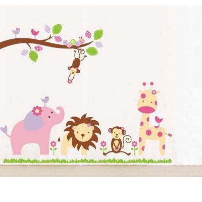 A-034手繪動物系列 動物夥伴大尺寸高級創意壁貼  牆貼