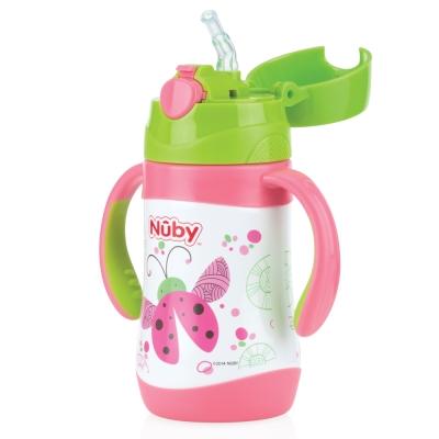 Nuby 幼兒不鏽鋼保溫杯/水壺280ml(雙耳把手/細吸管)-瓢蟲(12M+)