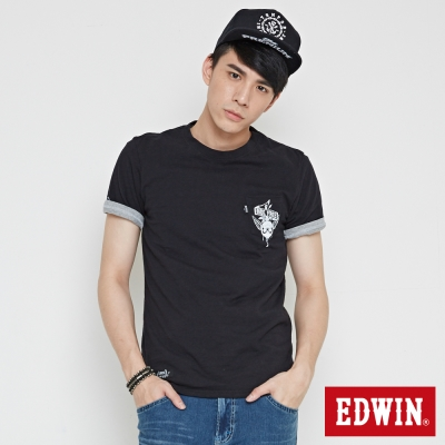 EDWIN 竹節刺青口袋T恤-男-黑色