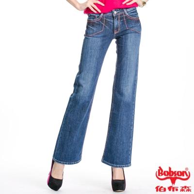 BOBSON 女款紅色繡線寬管喇叭褲(淺藍58)
