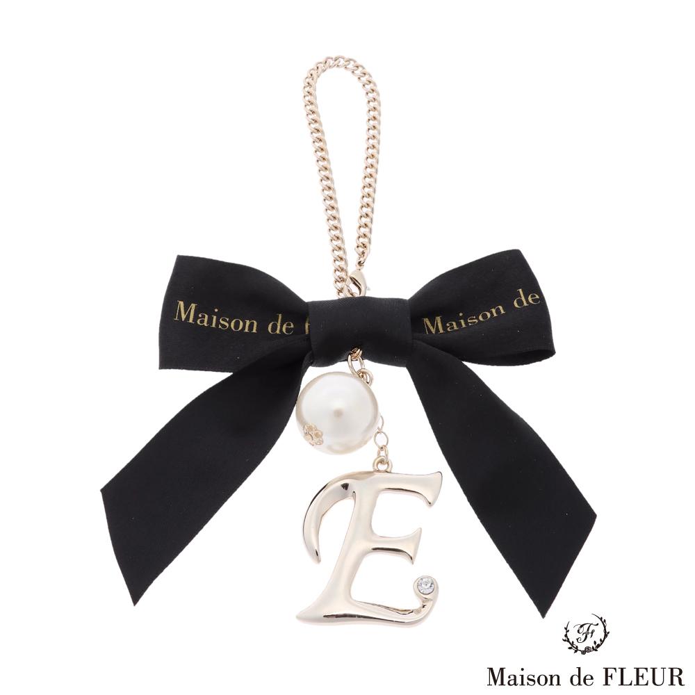 Maison de FLEUR 經典蝴蝶結絲帶字母鑲鑽吊飾
