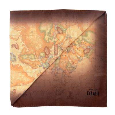 Alviero Martini 義大利地圖 地圖渲染絲巾-咖啡/地圖黃 (45X180)