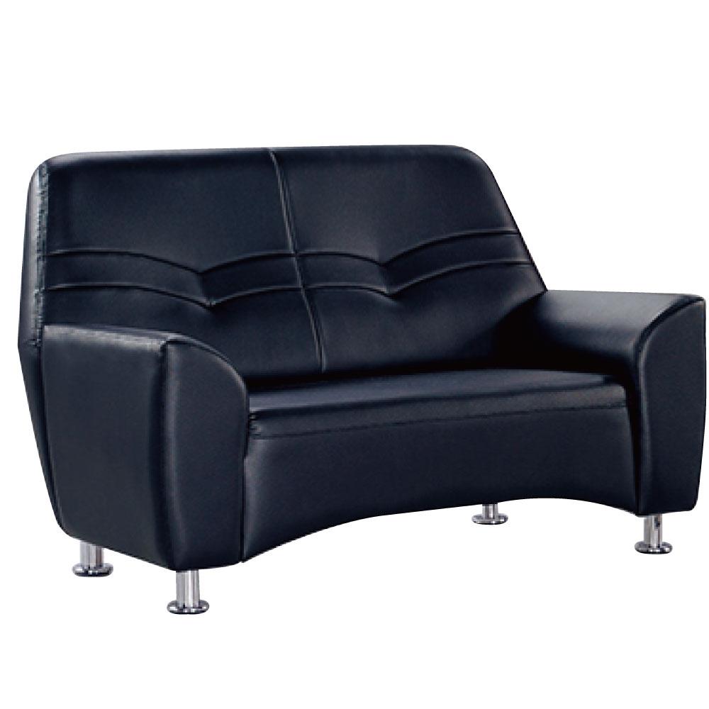 品家居 貝莉黑色皮革雙人座沙發