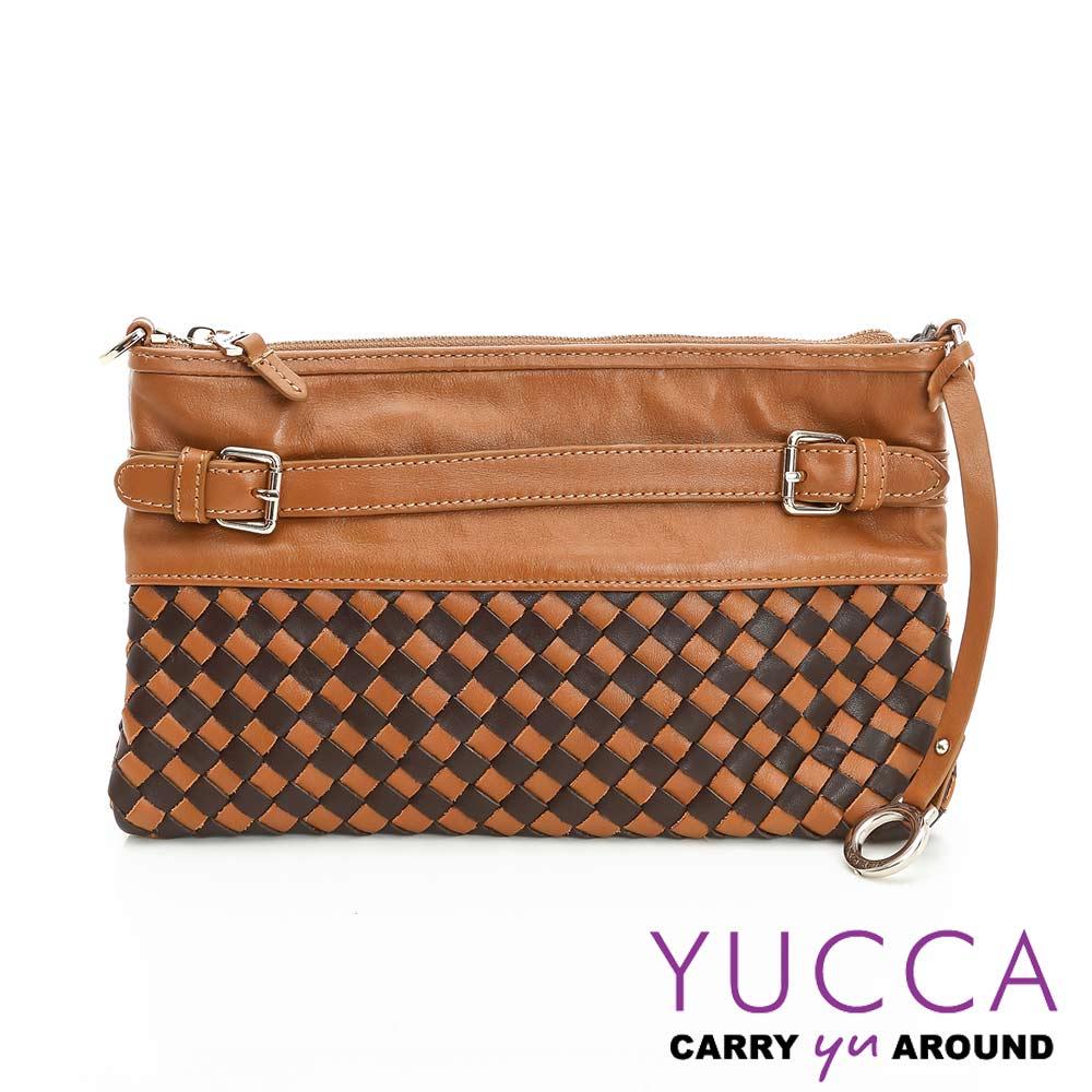 YUCCA -牛皮手工編織雙色手拿/斜背包- 駝色-E6013104C45