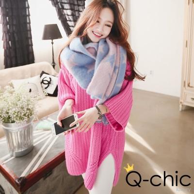 粗針織亮彩七分袖羊毛長版毛衣 (粉色)-Q-chic