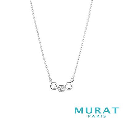 MURAT Paris米哈巴黎 鏤空滿鑽六角型項鍊