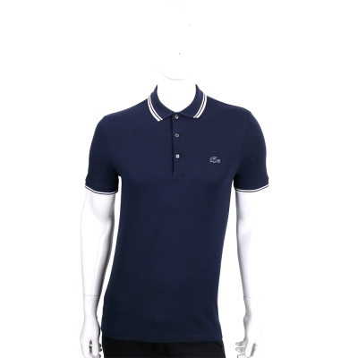 LACOSTE Slim Fit 深藍色撞色領口短袖POLO衫(男款)