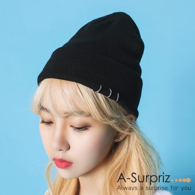 A-Surpriz 簡約純色環圈反摺毛線帽(黑)