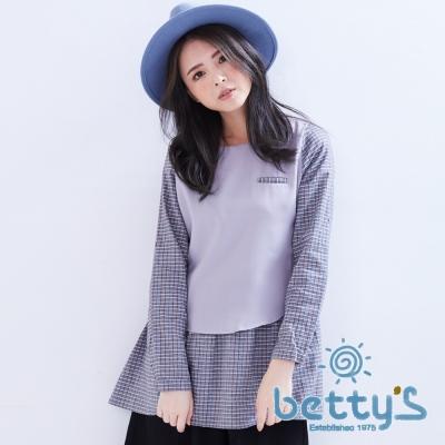 betty's貝蒂思 知性格紋拼接雪紡假兩件式上衣(灰色)