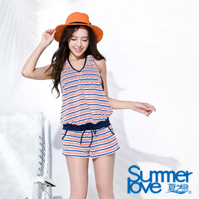 夏之戀SUMMERLOVE 比基尼泳裝 外搭連身褲罩衫 粉藍條紋