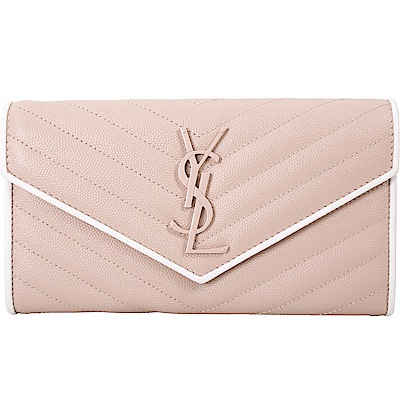 YSL Saint Laurent MONOGRAM 絎縫荔紋牛釦式信封長夾(玫瑰粉)