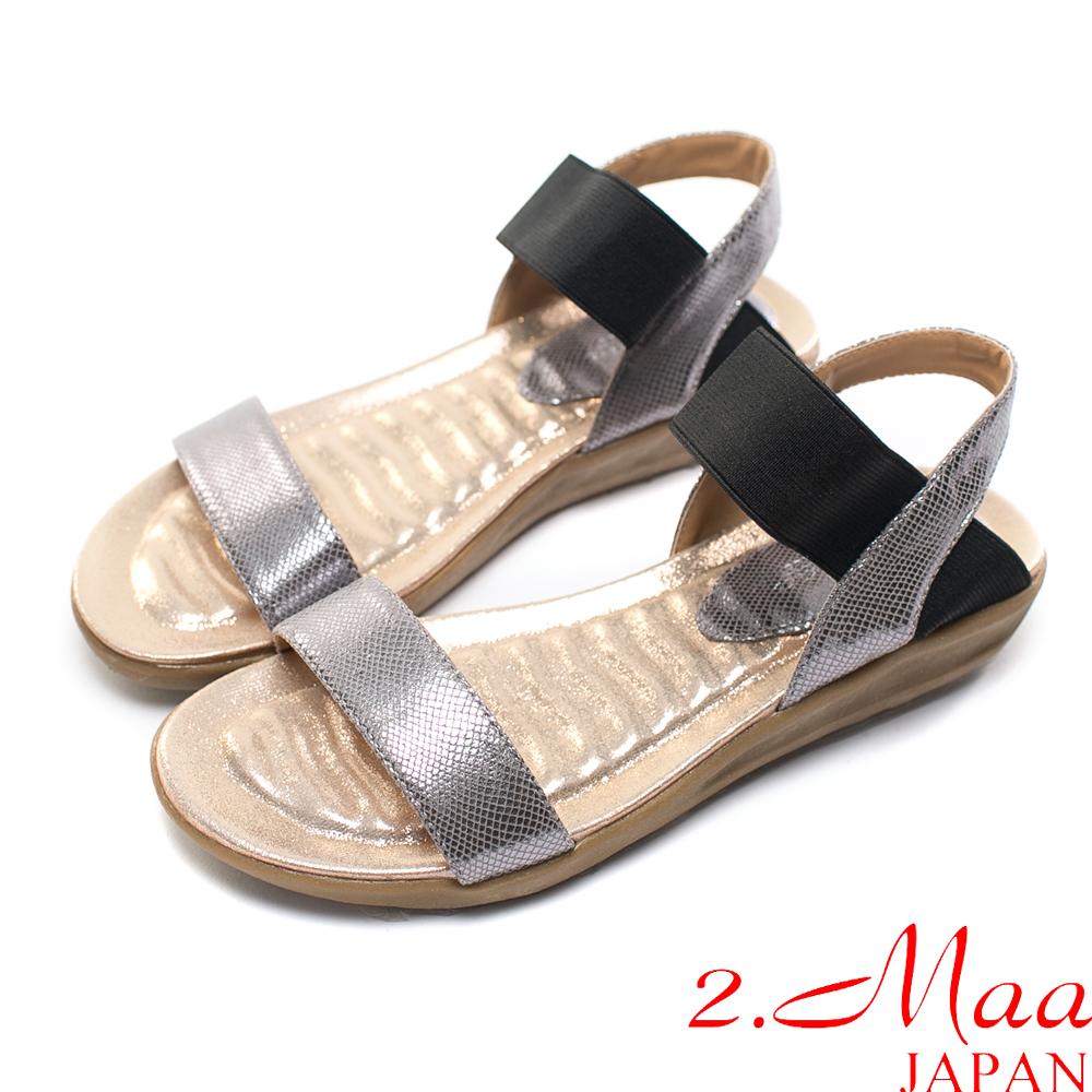 2.Maa-韓風俐落一字造型鬆緊寬帶涼鞋-金屬銀