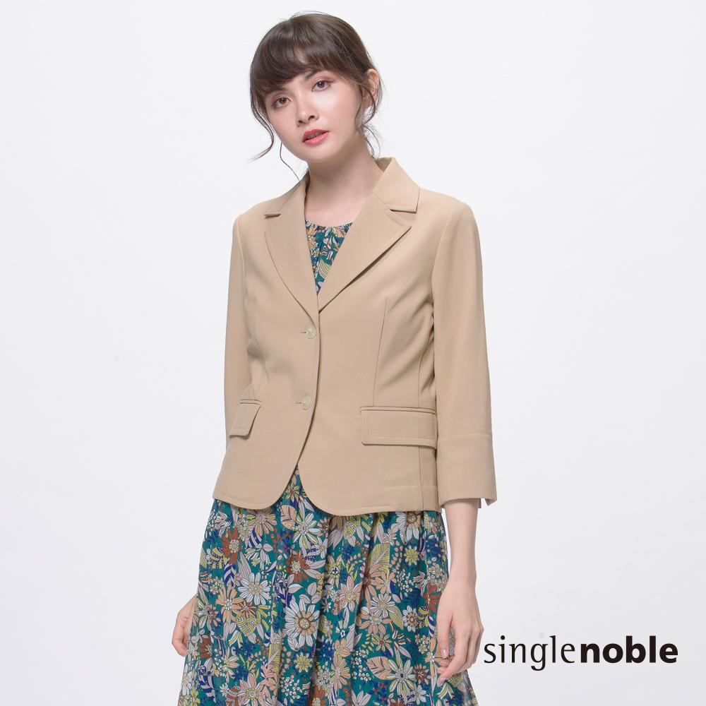 獨身貴族 簡約幹練素面七分袖西裝外套(2色)