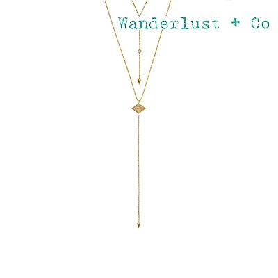 Wanderlust+Co 澳洲時尚品牌 ARYA LARIAT希臘符號星系鑲鋯項鍊 金色