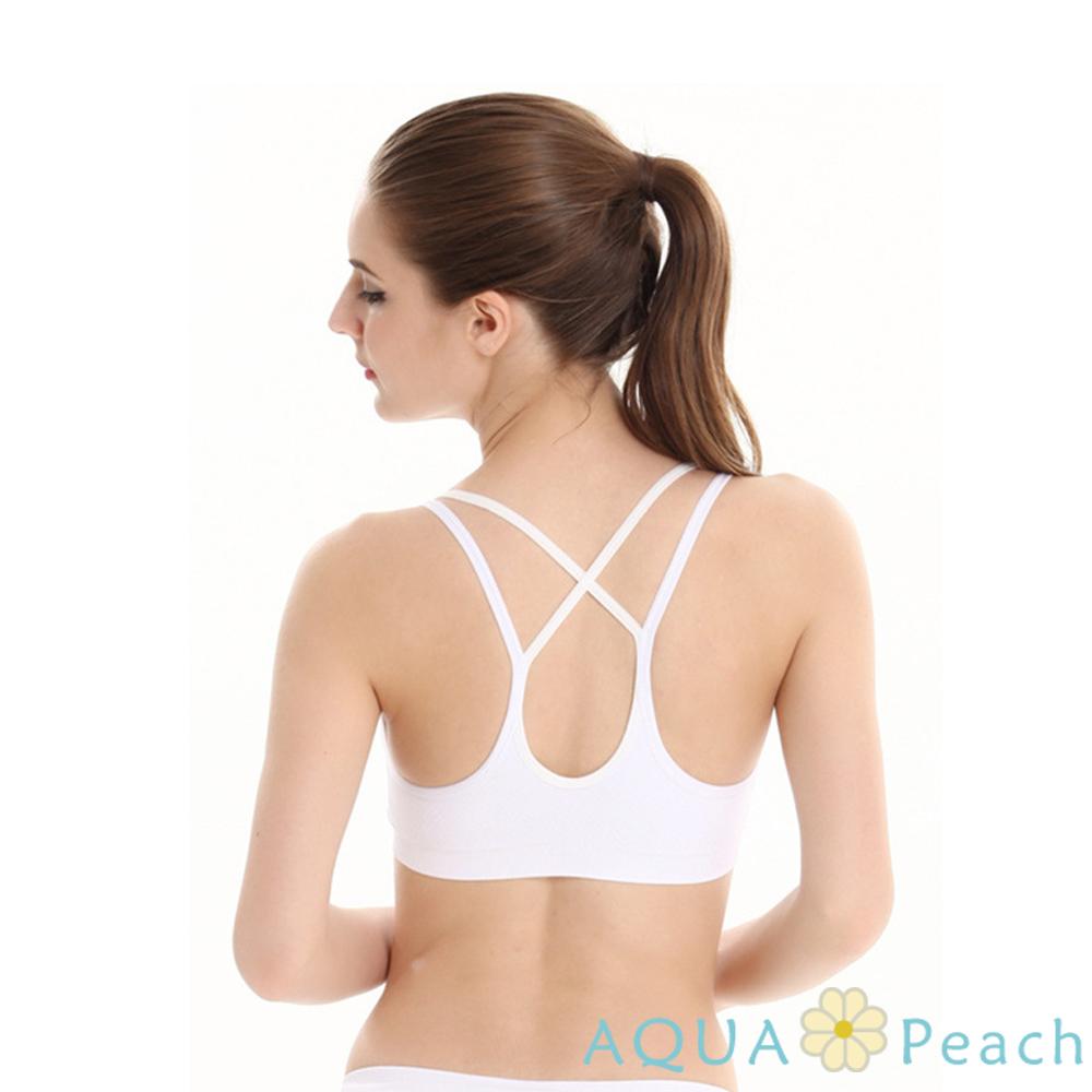 運動內衣 雙線交叉褶皺無鋼圈內衣 (白色)-AQUA Peach