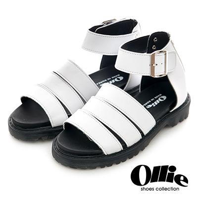 Ollie韓國空運-正韓製寬版皮革三線繞踝羅馬涼鞋-白
