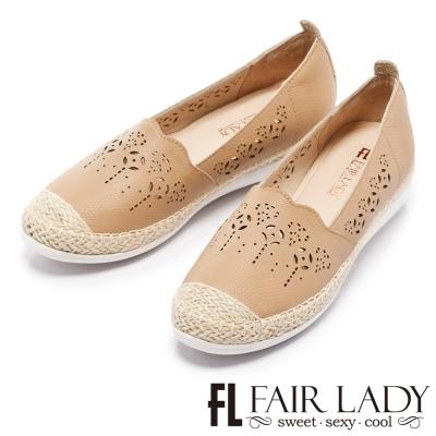 Fair Lady 優雅手感懶人真皮雕花草編鞋 駱駝