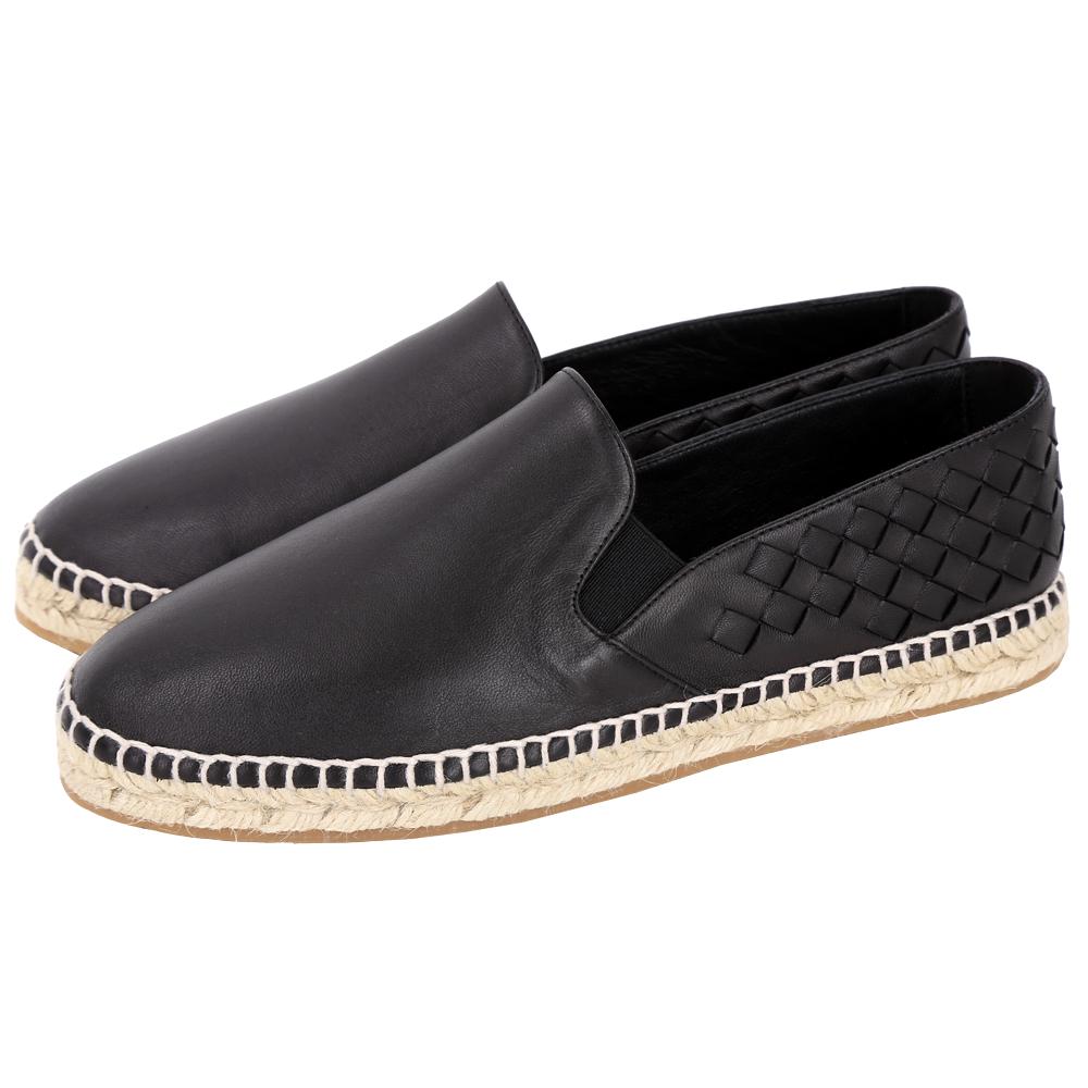 BOTTEGA VENETA 經典小羊皮編織拼接麻編平底鞋(黑色)