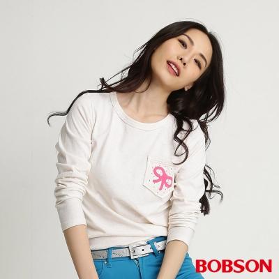 BOBSON 女款印圖五彩紗長袖上衣(五彩03)