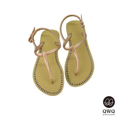 QWQ夾拖的創意(女) -璀璨面鑽涼鞋-香檳金