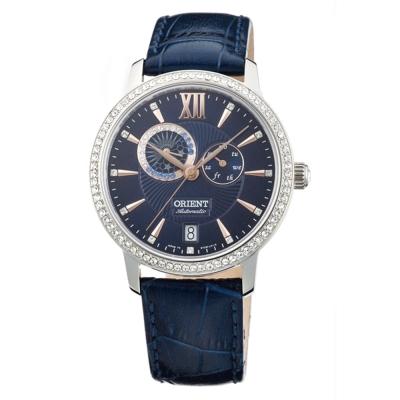 ORIENT 東方錶 ELEGANT系列 璀璨星辰日月相機械錶-午夜藍/36mm