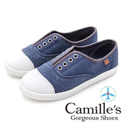 Camille's 韓國空運-正韓製- 8孔無綁帶丹寧平底休閒鞋-深藍