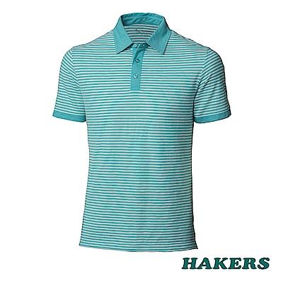 【HAKERS】男-抗UV條紋POLO衫-青瓷色