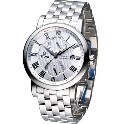 TITONI Master Series 動力儲存機械腕錶-白/40mm