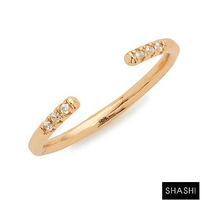 SHASHI 紐約品牌 AVA 金色平衡骨戒指 鑲鑽設計 亮面優雅圓弧 C型可調式