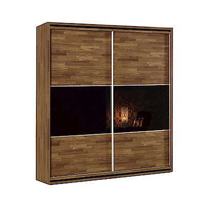 品家居 米森堤5尺木紋雙色雙推門衣櫃-150.5x61x197cm免組