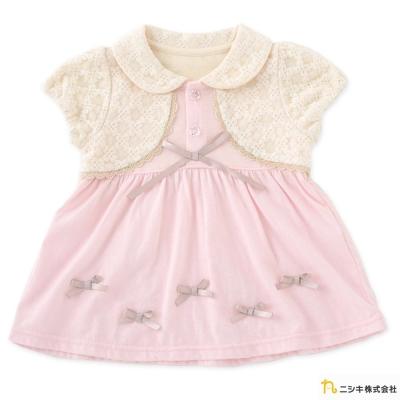 Nishiki 日本株式會社 假兩件蕾絲蝴蝶結短袖洋裝