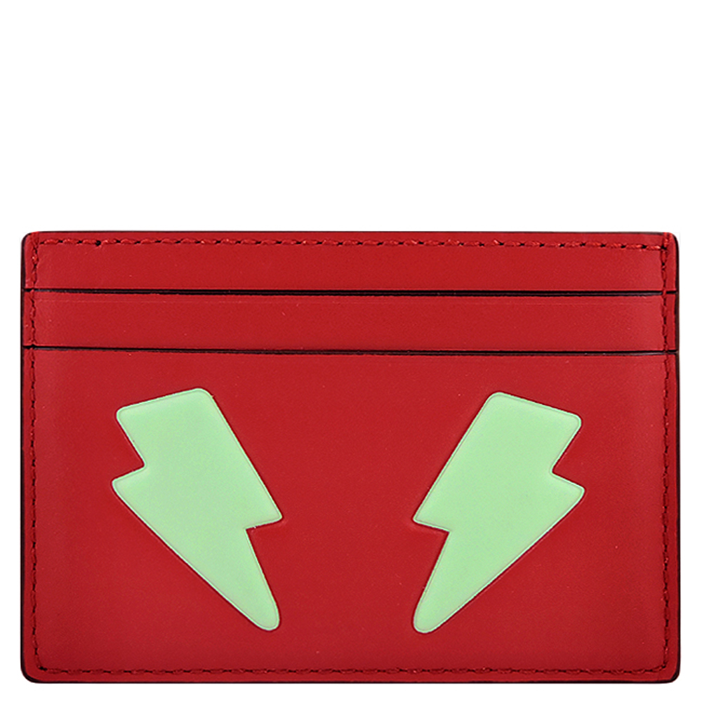 COACH 紅色皮革壓紋證件名片夾COACH