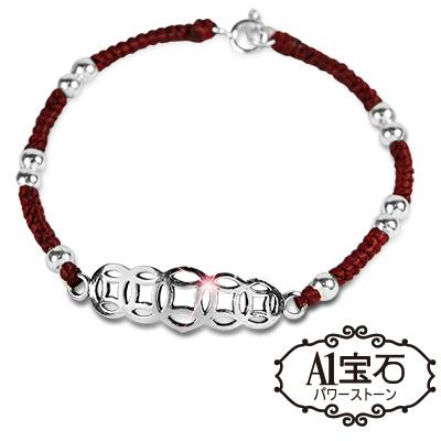 A1寶石 強力吸金-錢滾錢紅財神/繩-純銀款手鍊(含開光加持)