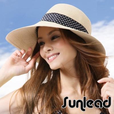Sunlead-防曬寬緣寬圓頂抗UV浪漫蝴蝶結造型