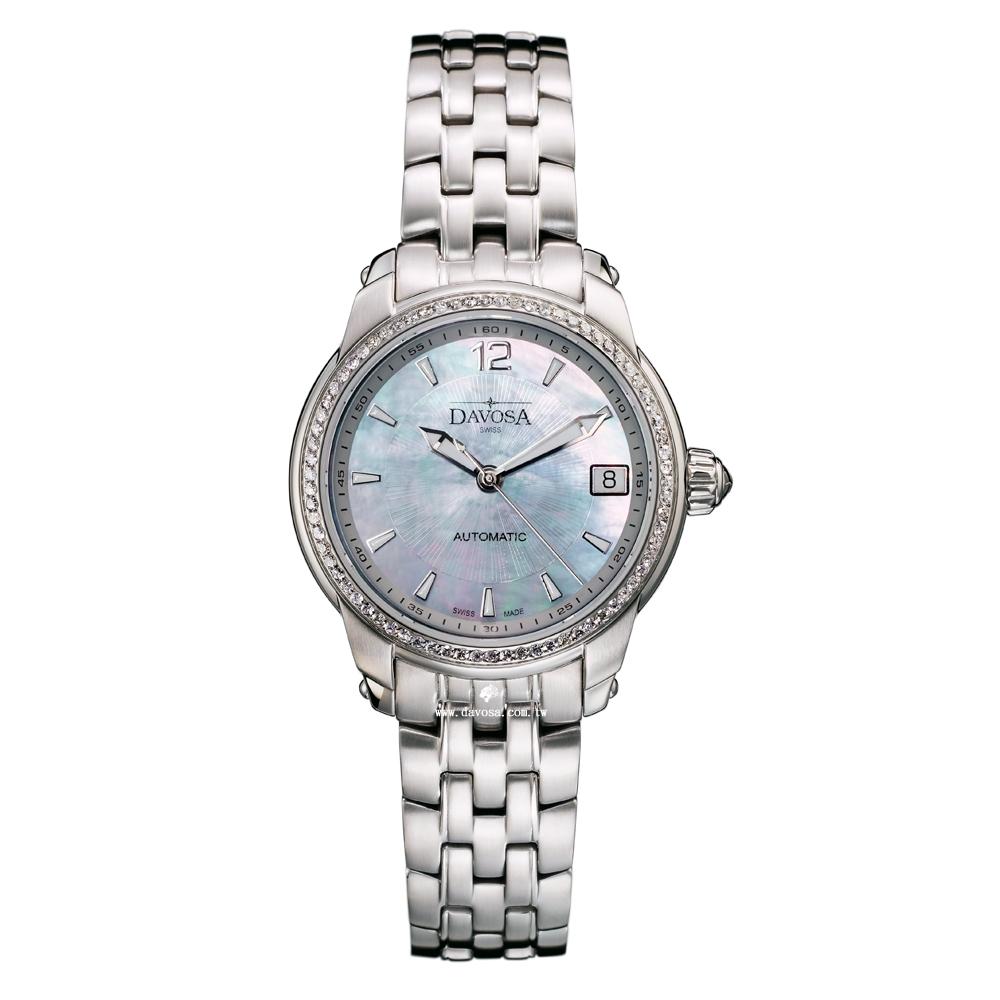 DAVOSA Ladies Delight 經典三針真鑽機械女錶-藍彩貝/34mm