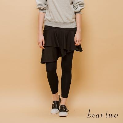 beartwo  雙層次造型假兩件式內搭褲(黑色)
