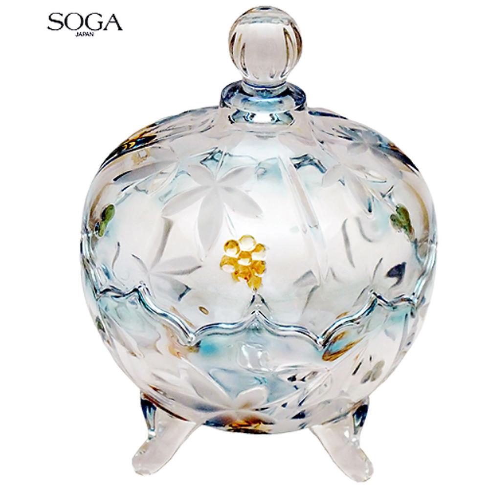 日本SOGA水晶玻璃水藍色三腳彩色大罐(Z4939S)